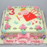 peppa pig with rose garden cake