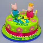 peppa pig and george playing cake