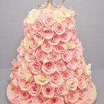 50th birthday cake covered with roses