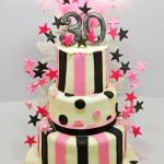 pink and black stars 3 tier birthday cake