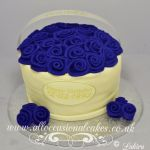 blue rose flower basket