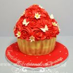 red rose giant cupcake