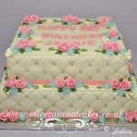rose bud with blue flower diamond design cake