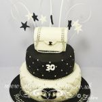 black and white 2 tier handbag cakes