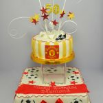 manchester united football 2 tier cake