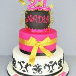 hot pink 21st birthday cake