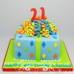 colourful streamers parcel cake