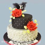 red rose 16 th birthday cake