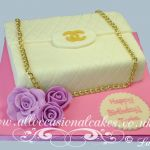 white chanel handbag cake