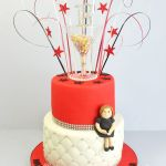 red and white 18th birthday cake