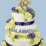 lilac and yellow 18th birthday cake