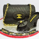 black chanel bag and a shoe cake