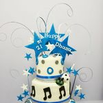 blue & silver 3 tier 21st birthday cake