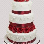 "Romance Red Flower With Sugar Piping Wedding Cake £ 495 (6""8""10"")"
