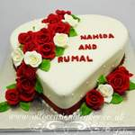 ruby and ivory rose heart cake