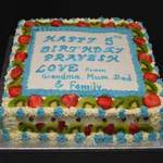 blue fresh fruit and cream cake