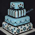 Blue and black themed wedding cake