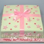 "pink parcel cake with bow £ 55 (8"")"