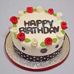"red & ivory roses cake   55 (8"")"
