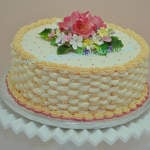 Butter cream basket weave with sugar flowers birthday cake CFA b 003