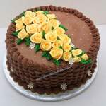 yellow roses chocolate cream birthday cake