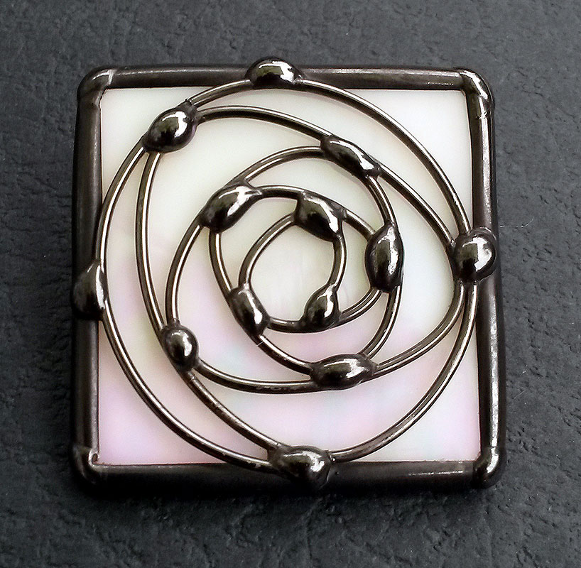 Square Swirl Rose Brooch - Black Finish