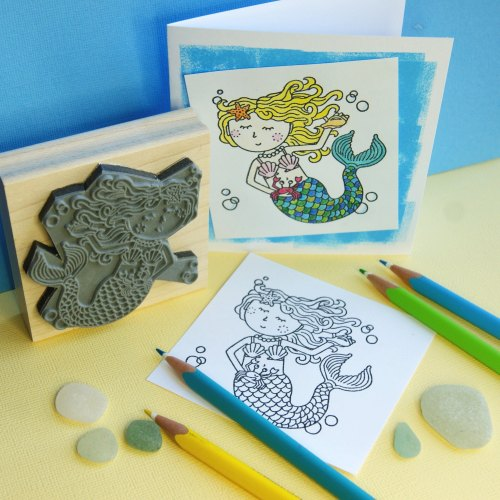 Colour-Me-In Mermaid Rubber Stamp