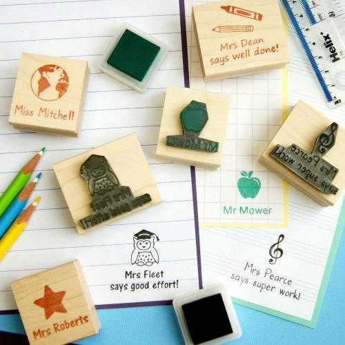 Personalised Teacher Hand Carved Rubber Stamp