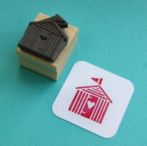Heart Beach Hut Rubber Stamp