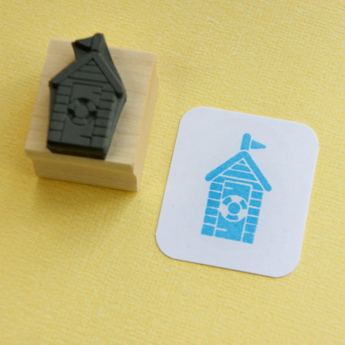 Beach Hut Hand Carved Rubber Stamp