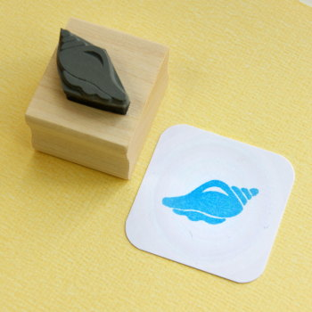 Tiny Conch Shell  Rubber Stamp