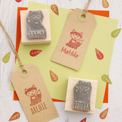 Personalised Children's Fox Rubber Stamp