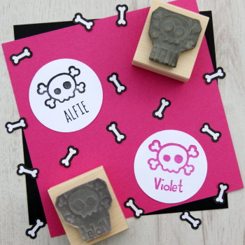 Personalised Children's Skull and Cross Bones Rubber Stamp