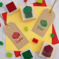 Personalised Children's Building Brick Rubber Stamp