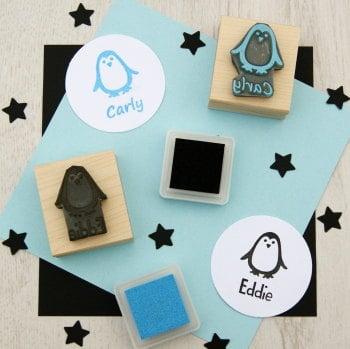 Personalised Children's Penguin Rubber Stamp