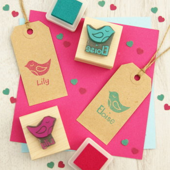 Personalised Children's Sleepy Bird Rubber Stamp