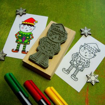 Colour-Me-In Elf Rubber Stamp