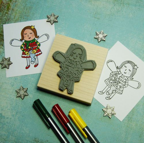 Colour-Me-In Fairy with Stocking Rubber Stamp