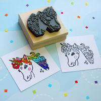 Colour-Me-In Pretty Unicorn Rubber Stamp