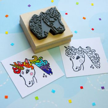 Colour-Me-In Pretty Unicorn Rubber Stamp