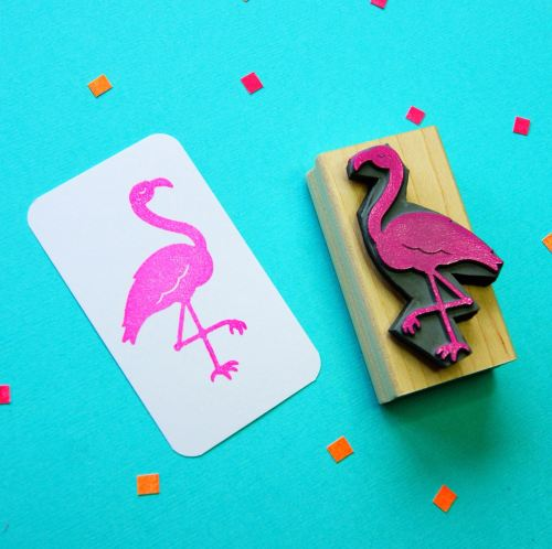 Fancy Flamingo Rubber Stamp