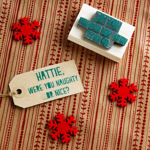 Personalised Christmas Naughty Or Nice Rubber Stamp