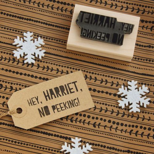 Personalised Christmas No Peeking Rubber Stamp
