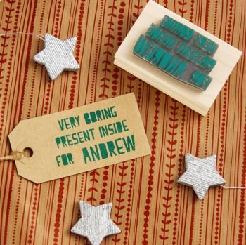 Personalised Christmas Very Boring Present Rubber Stamp