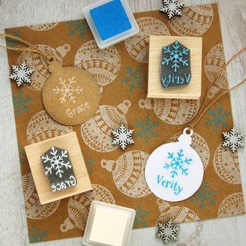 Personalised Children's Christmas Snowflake Rubber Stamp