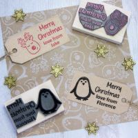 Personalised Children's Merry Christmas Rubber Stamp