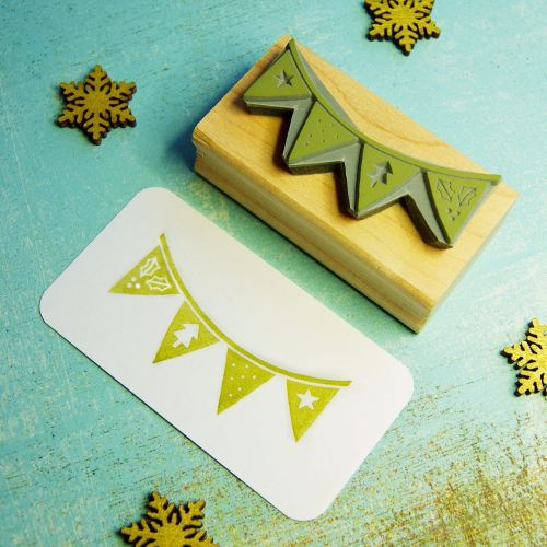 BLACK WEEKEND DEAL Christmas Bunting Hand Carved Rubber Stamp