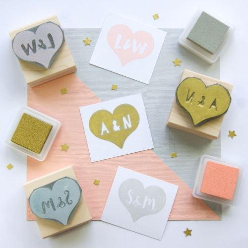 Personalised Heart Rubber Stamp Gift