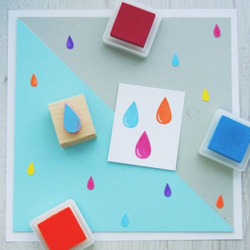 Raindrop Hand Carved Rubber Stamp