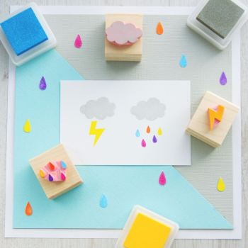 Rain Cloud set of 3 Rubber Stamps